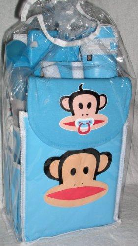 Small Paul Frank Blue Color Diaper Bag, Baby Milk Bottle, Milk Bottle Holder, Diaper Plastic Box, 3 Small Baby Towel, Diaper Change Pad and Bib Burp 9 Pcs One Set
