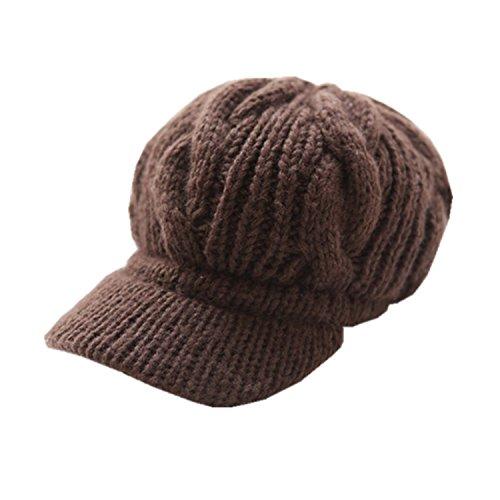 DAYAN Elegante Ragazze Inverno Cappelli Lana Bello caldo Ski Berretti In Maglia Donne colore Caffe