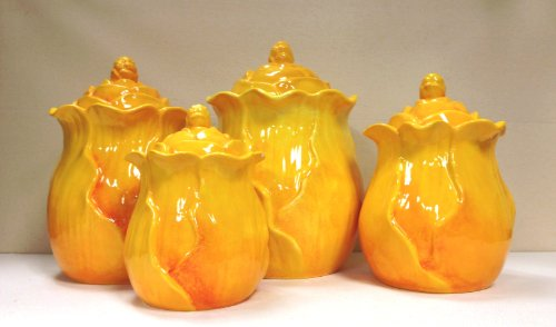 "Tuscany Garden Ruffle Orange/Yellow Flower Collection Hand Painted 4-Piece Canister Set 10""H By Ack back-197299"