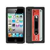 Fosmon Retro Soft Silicone Cassette Case for Apple iPhone 4/4S (Black/Red)