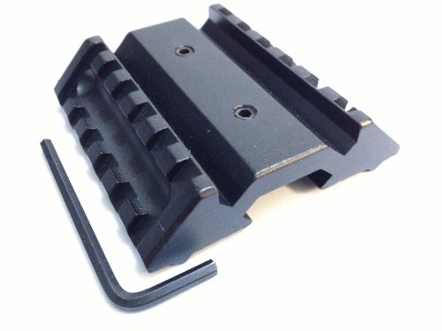 Ade Advanced Optics Dual Side 45 Degree Angle Offset 6 Slot Extension Mount With Picatinny/Weaver Rail Base, Flash Light Laser Tactical Rifle Quad