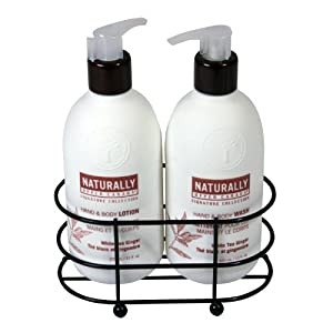 Naturally Signature Collection Wire Caddy with Hand and Body Lotion and Wash, White Tea