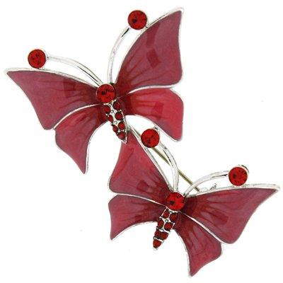 Broche con dos Mariposas en Cristal Swarovski Rojo