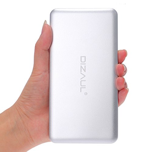 Power Bank, dizauL?ultra thin 10000mAh Ultra High Capacity Dual USB External Battery With 4-modes LED light Portable Charger For iPhone 6 6Plus 5S 5C 5 4S 4, iPad Air, iPad mini, Galaxy S6 S5 S4 S3, Note 4 3, Nexus, HTC One, Most other Phones and Tablets - silver