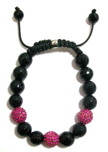 Just Give Me Jewels Yoga Style Hot Pink Pave Crystal and Faceted Onyx Bead Bracelet