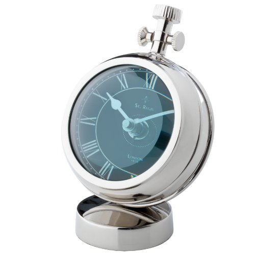 Zodax Regatta Yachtsman's Polished Nickel Mantle Clock with Fish-Eye Glass and Black Face