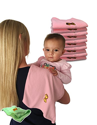 Baby Travel Burp Cloth Bib Microfiber Towels Birth till Adult - 10 Pack Bonus