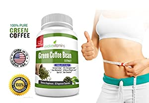 Pure Green Coffee Bean Extract 800 Mg - Maximum Strength Diet Pills For Weight Loss Appetite Suppression And Energy Boost- Bonus Free Healthy Recipe And Weight Loss Guide from Evolve Vitamins