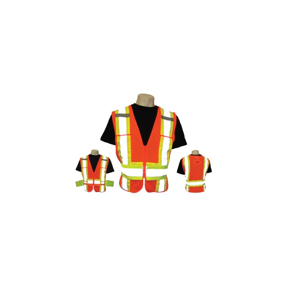 Global Glove GLO 005ADJ FrogWear Class 2 Mesh Safety Vest with 3M Scotchlite Reflective and Side Adjustment, Fits 2X Large to 4X Large (Case of 50)