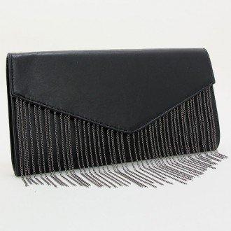 "Womens Black Polyurethane Fringe Envelope Clutch. Magnetic Closure. Polyurethane. Strap Size : 24"" L Size : 13"" W, 7"" H, 2"" T - 1"