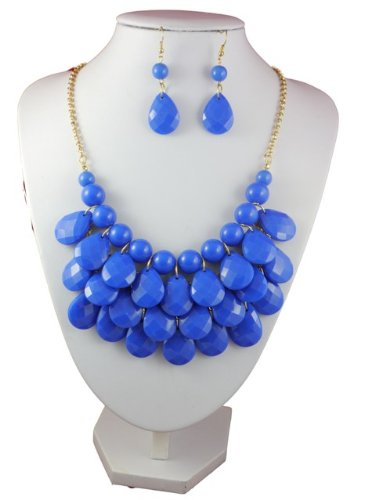 Multi Layer Blue Facet Bead Necklace and Drop Earrings Set
