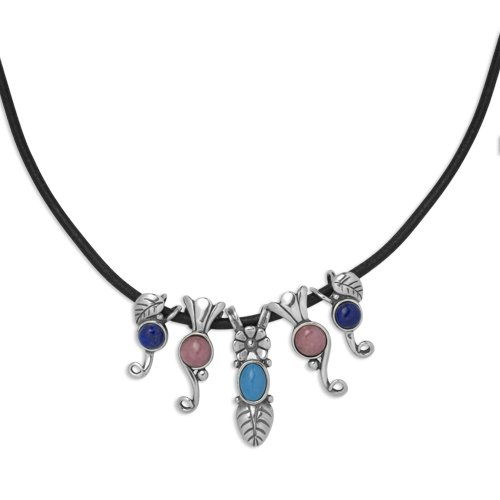 Sterling Silver Turquoise, Lapis and Rhodonite Puzzle Pendant on Black Leather Cord