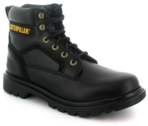 Mens Black Leather Cat Work Boots - Black - UK 9
