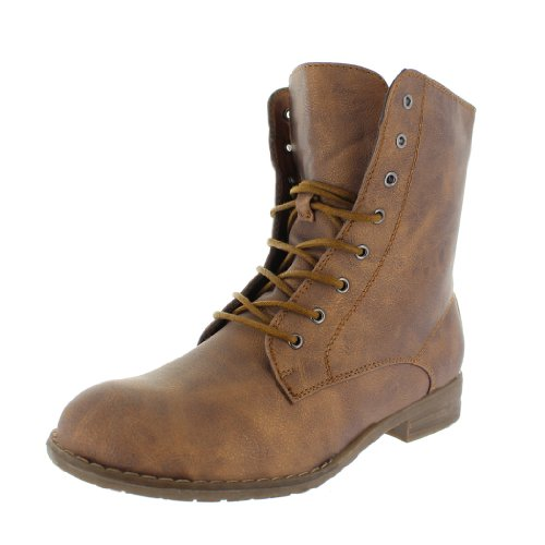 best-boots Damen Stiefelette Schnürer Boots Stiefel Trend Braun 678 Größe 36