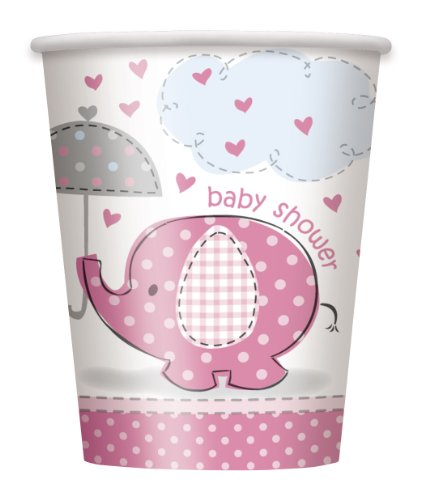 Umbrella Elephant Girl Baby Shower Paper Cups (8ct) - 1