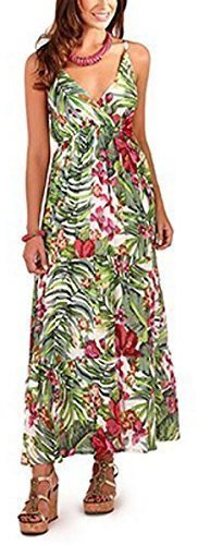 Pistachio, Ladies Floral Cotton Maxi Dress with Straps, Blue / Green