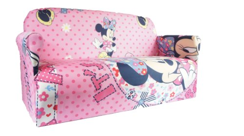 MINNIE MOUSE PINK CHILDRENS DISNEY TV CHARACTERS SOFA ARMCHAIR PLAYROOM BEDROOM KIDS 2 SEATER SOFA
