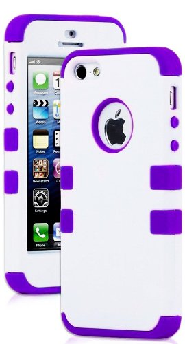 Mylife (Tm) Vibrant Purple - White Flat Matte Series (Neo Hypergrip Flex Gel) 3 Piece Case For Iphone 5/5S (5G) 5Th Generation Itouch Smartphone By Apple (External 2 Piece Fitted On Hard Rubberized Plates + Internal Soft Silicone Easy Grip Bumper Gel + Li