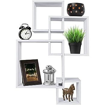 Greenco Decorative 4 Cube Intersecting Wall Mounted Floating Shelves- White Finish