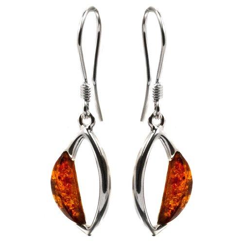 Baltic Honey Amber Sterling Silver Art Shaped Hook Earrings