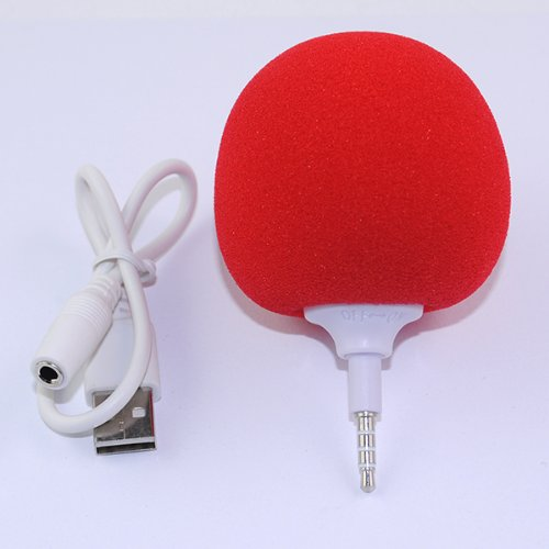Iclover New Arrival Cute Red Sponge Balloon Ball Style Portable 3.5Mm Audio Dock Peaker Mini Speaker Player For Iphone Samsung Htc Ipad Mp3 Mp4