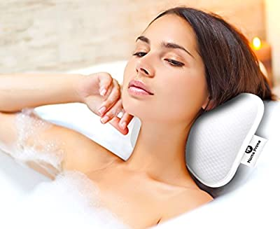 Home Prime Spa Bath Pillow Gift Set with 2 Strong Suction Cups - Large and Soft, Shoulder, Neck Support, with a Sponge Loofah