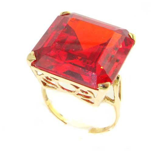 Luxury Solid 14K Yellow Gold Huge Heavy Square Octagon cut Synthetic Orange Sapphire Ring - Size 9.25 - Finger Sizes 5 to 12 Available - Perfect Gift for Birthday, Christmas, Valentines Day, Mothers Day, Mom, Mother, Grandmother, Daughter, Graduation, Bridesmaid.