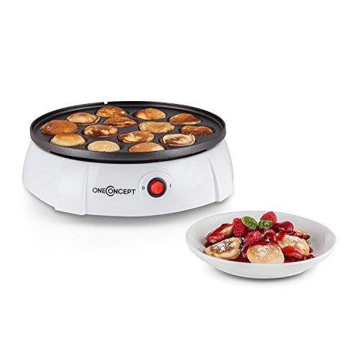 oneConcept Pancake Queen - Appareil à mini pancake de 650W avec revêtement anti-adhésif (jusqu'à 14 pancakes, préparation en 3 à 5 min, nettoyage facile) - blanc