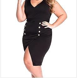 F&Q Real Dress Women's Plus Size Military Gold Button Dress Black