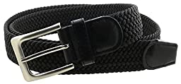 Mens Braided Elastic Stretch Belt Leather Tipped End and Silver Metal Buckle (Black-M)