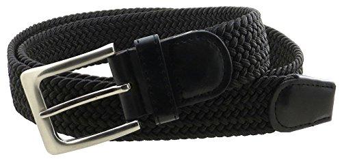 Mens Braided Elastic Stretch Belt Silver Metal Buckle (Black-2XL)