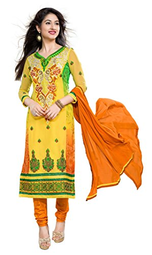 Khushali Fashion Women Georgette Salwar Suit Dress Material (Pn401 _Yellow _Free Size)