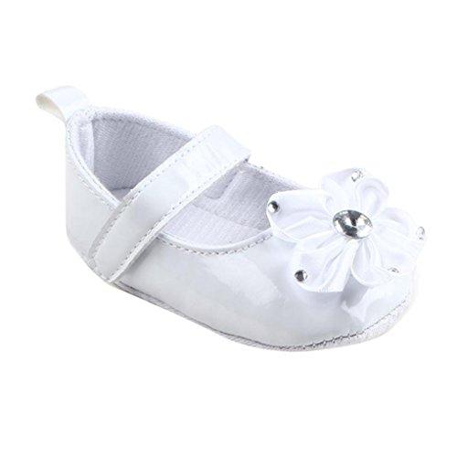 Kingko® Ragazza del bambino morbida Sole Presepe calza i pattini Fiori scarpa da tennis del capretto del bambino di estate dei pattini (6~12 mesi, Bianco)
