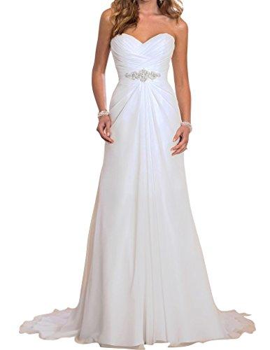 JYDress Women's Beading Waist Pleated Wedding Dress 2016 for Bride