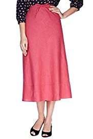 Linen Blend A-Line Plain Long Skirt