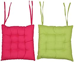 CPM Handlooms Cotton Plain Big Chair Pad Buy One color Get One color Free ,Limited Stock Only- Pink & Green
