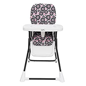 Evenflo Compact Fold High Chair Penelope Pink Black