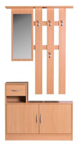 Wohnling WL1.155 Garderobe Julia Buche 90 cm mit Spiegel und Wandgarderobe