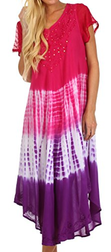 Sakkas 415D Multi Color Tie Dye Cap Sleeve Caftan Dress / Cover Up - Pink - One Size