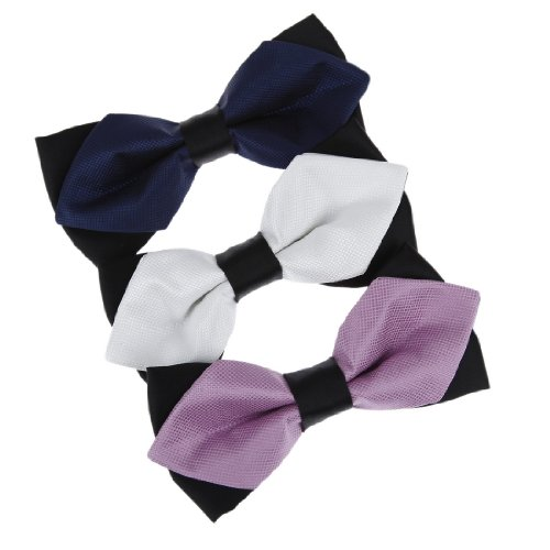 Dbe3F27 Handmade Design Black White Orchid Checkered Dark Blue Christmas Presents Microfiber Pre-Tied Bowties 3 Package Set By Dan Smith