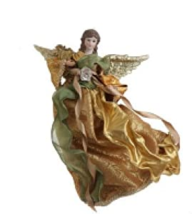 """11"""" Seasons of Elegance Shimmering Rose Gold and Green Angel Christmas Ornament"""