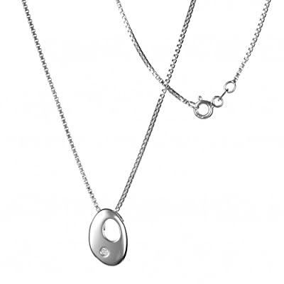 Hot Diamonds Pebble Silver and Diamond Pendant 41cm+5cm extender