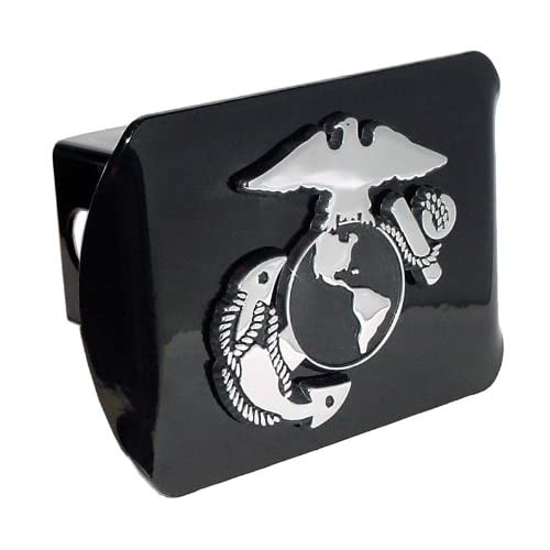 Marine Corps Black with Chrome USMC EGA Emblem Metal Trailer Hitch Cover Fits 2 Inch Receiver