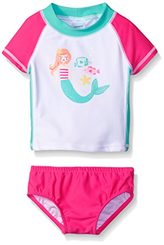 Carter 39 s baby short sleeve mermaid rash guard set white for Baby rash guard shirt