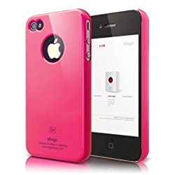 elago S4 Slim Fit Case for AT&T and Verizon iPhone 4/4S -Hot Pink + HD Professional Extreme Clear film + Logo Protection Film included