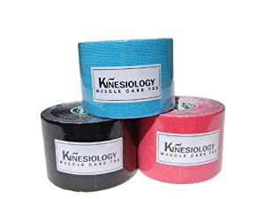 3NS Kinesiology Tape 3 Color Set Blue+Black+Pink Therapeutic Taping