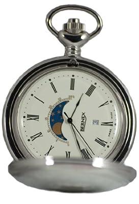Bernex Pocket Watch GB21206 Rhodium Plated Full Hunter Moon Phase
