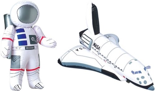 "Inflatable 23"" Astronaut and 17"" Space Shuttle - 2 Pc Set - Space Party Toys and Decorations"