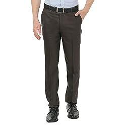 Zido Men'S Slim Fit Brown Formal Trouser_ZI15047_Brown