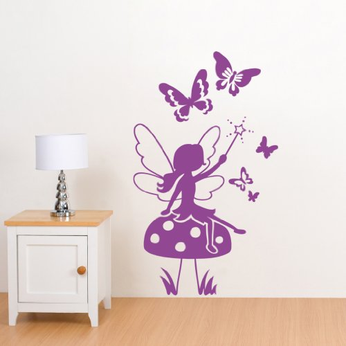 Enchanted Fairy & Butterflies Wall Sticker - Wall Art Vinyl Decal Stickers, Childrens Bedroom, Living Room, Easy to Apply, Free Applicator, Easy Peel - (PLEASE CHOOSE YOUR SIZE & COLOUR USING DROP DOWN MENU) - by Rubybloom Designs